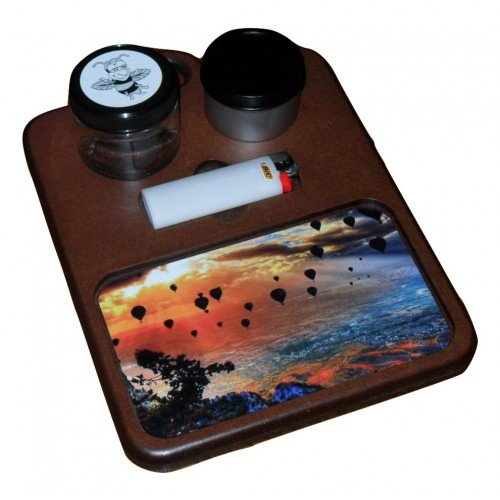 Mahogany color rolling tray with hot air balloons example image