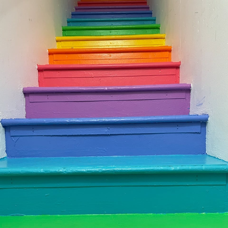 Painted our office stairs! Welcome to rainbow road! W00t!  Swipe for the before pic!😬 Thanks to the homies for making it happen check out their pages for more of the dank arts @dinksauce @allthethingzz